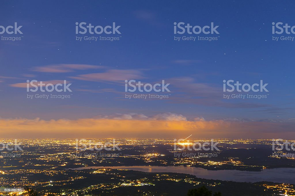Varese by night from Campo dei Fiori. Color image stock photo