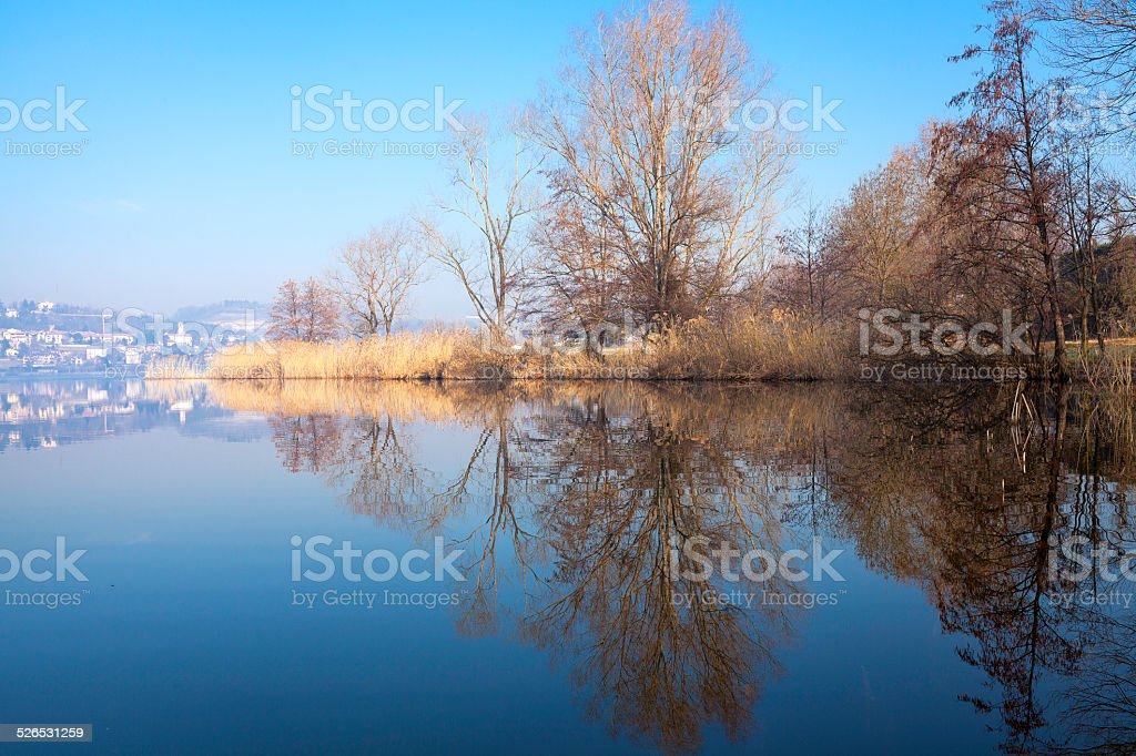 Varese lake, winter time. Color image stock photo