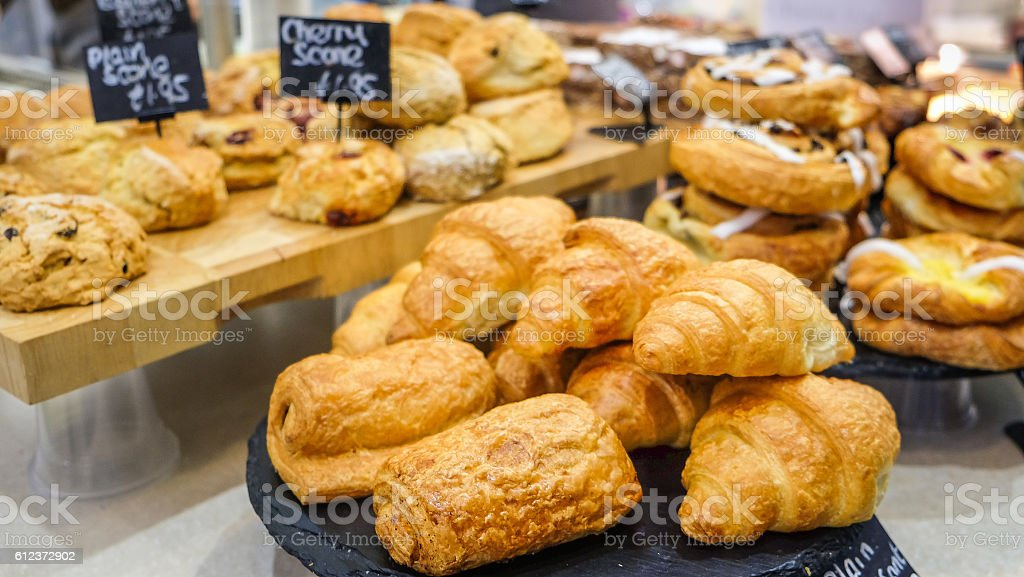 Variation baked pastry in bakery store stock photo