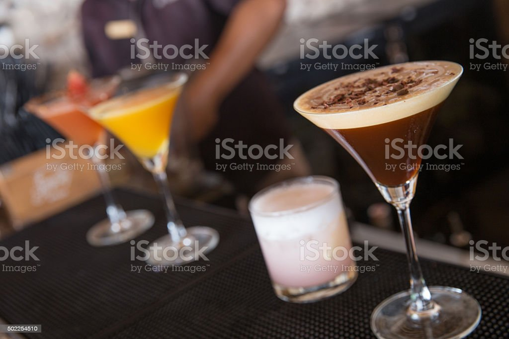 Variation cocktails on the bar stock photo