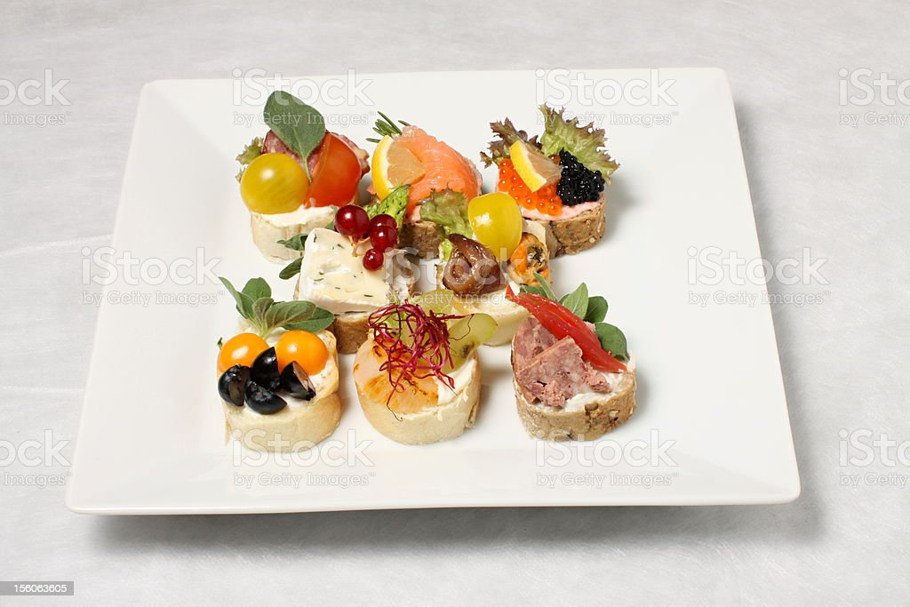 Variation of canapes royalty-free stock photo