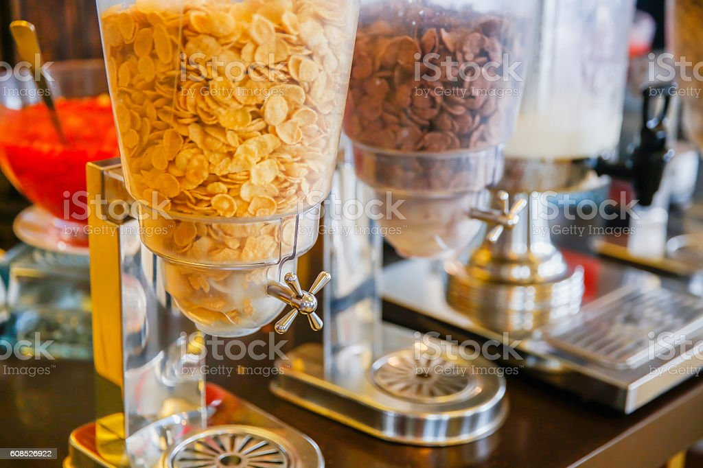Variation of cereals for breakfast stock photo