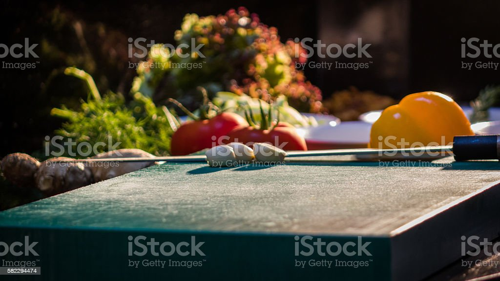 Variation of different autumn vegetables stock photo