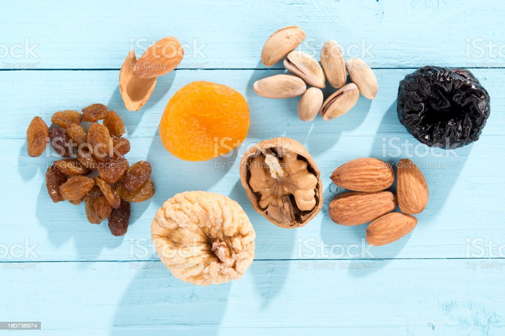 Variation of dried fruits and nuts stock photo