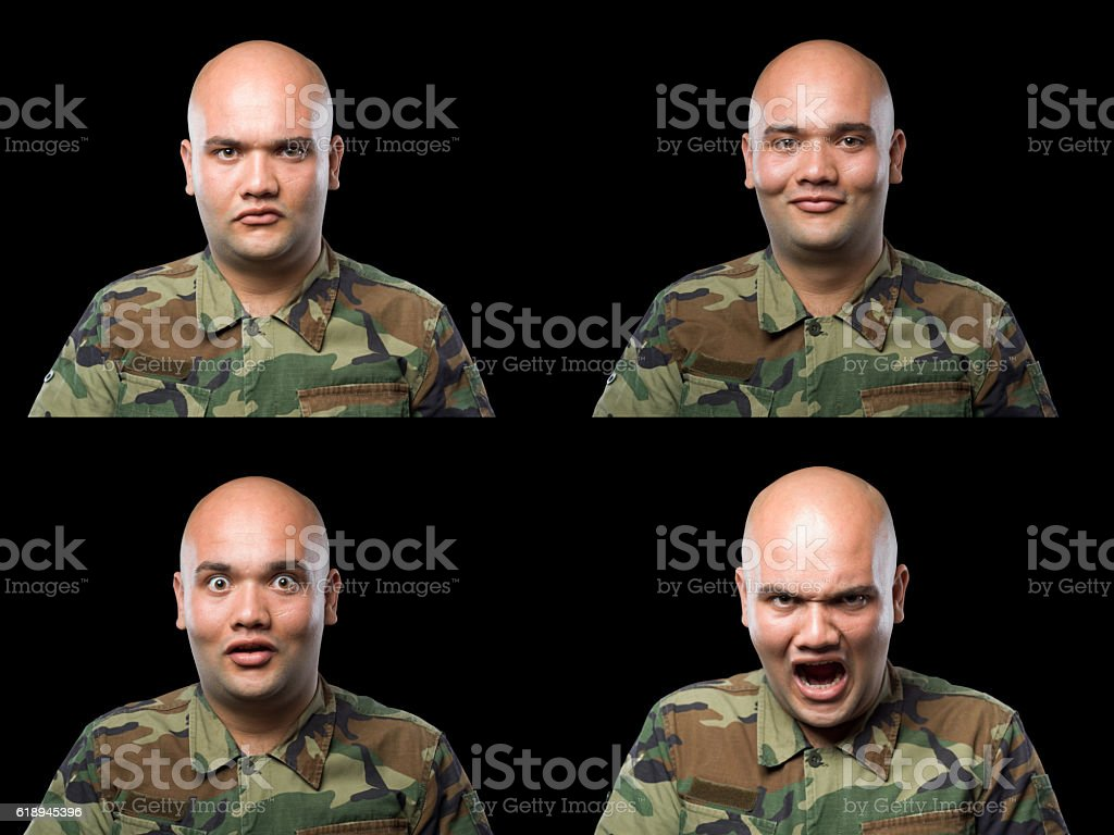 Variation Of Facial Expressions Of Soldier In Camouflage Uniform stock photo