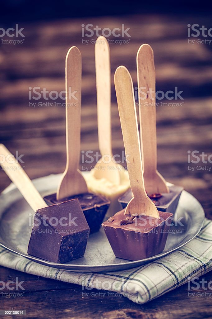 Variation of Homemade Hot Chocolate Bars with Spoon stock photo