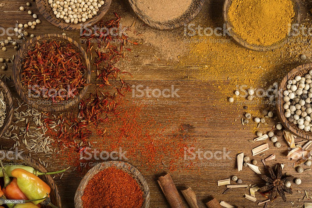 Variation of spices background with copy space stock photo