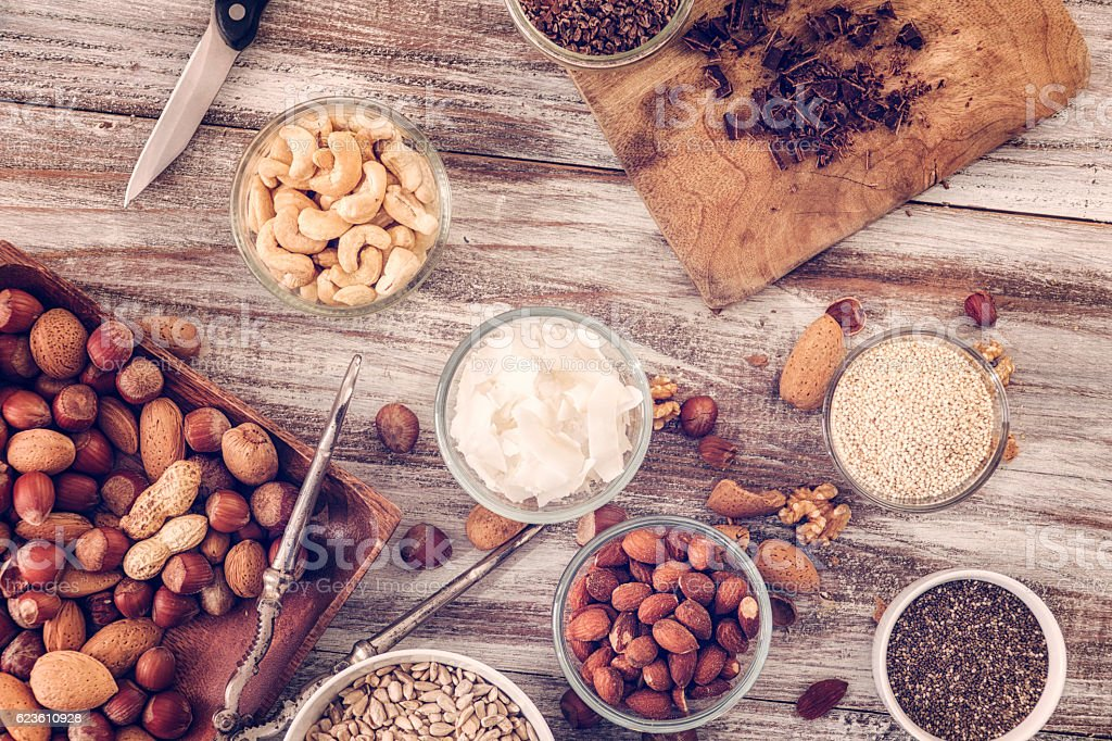 Variation of Superfood Chia, Quinoa and Nuts stock photo