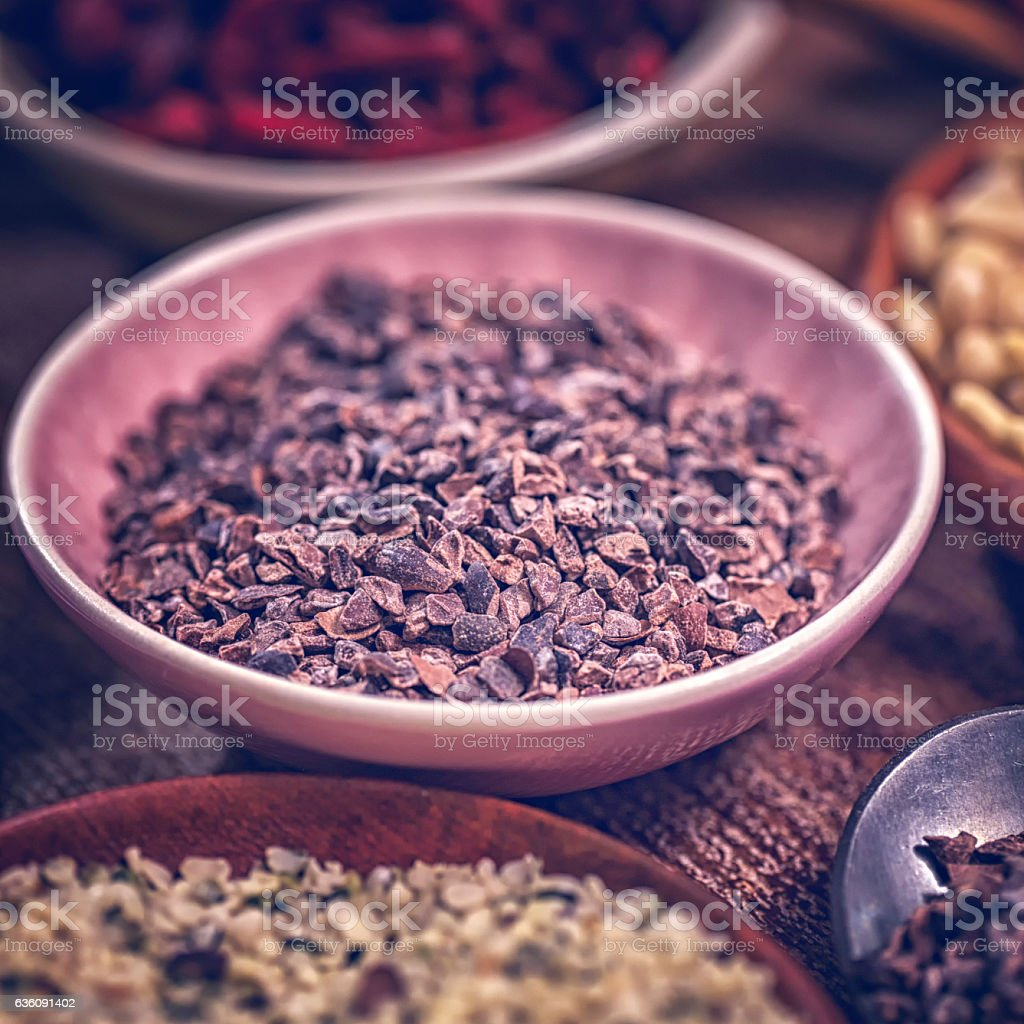 Variation of Superfood Cocoa, Chia, Quinoa, Poppy Seed and Nuts stock photo