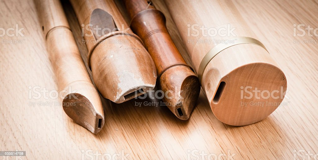 Variation of wooden recorders stock photo