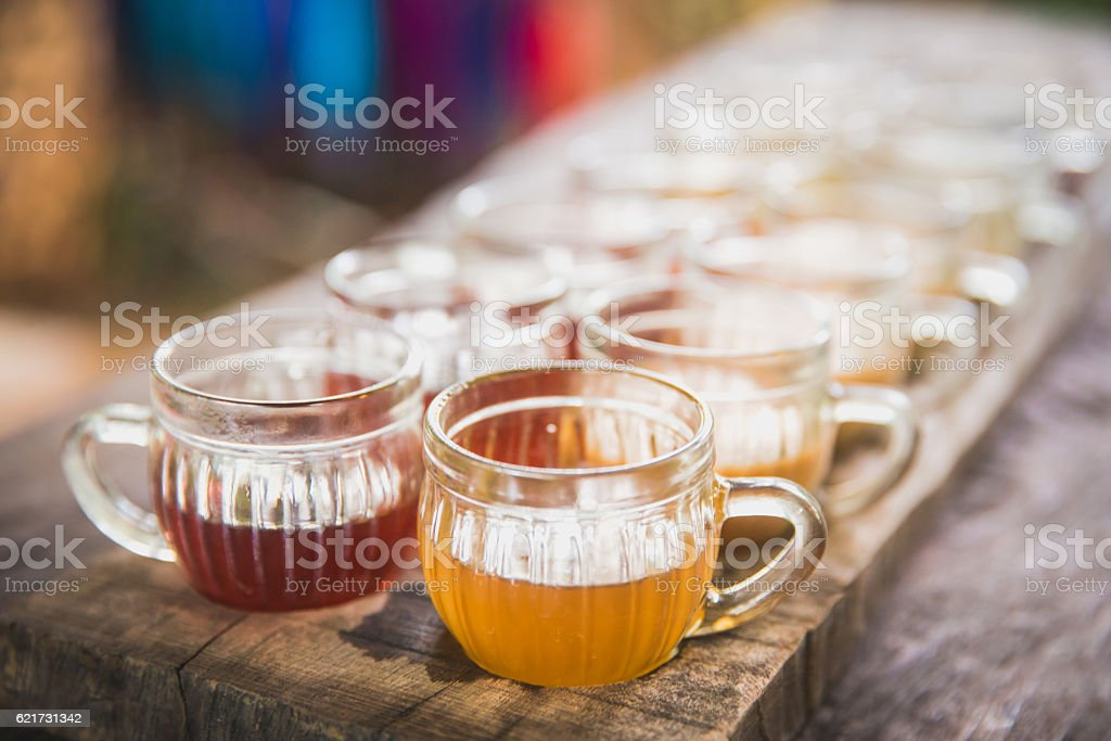 Variation tea flavour in a row stock photo