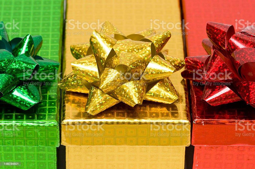 varicoloured caixas de presente com Laço de Fita foto de stock royalty-free
