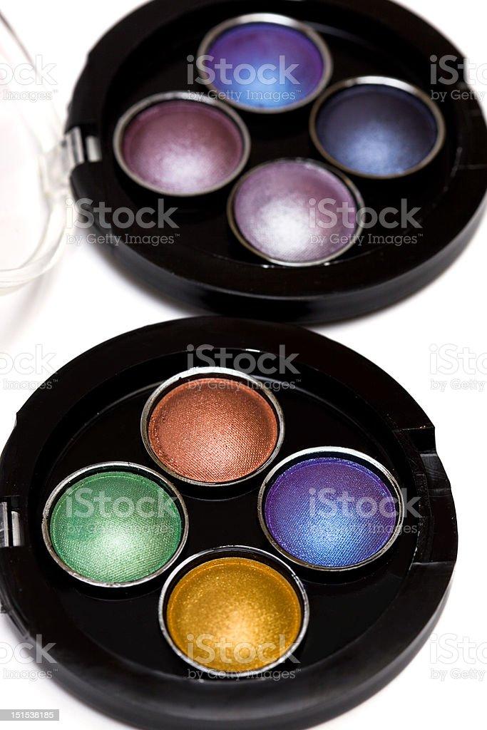 varicoloured Maquiagem Olho-as sombras isolado em fundo branco foto de stock royalty-free