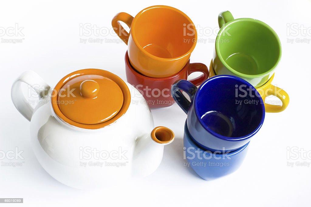 Varicoloured tableware royalty-free stock photo