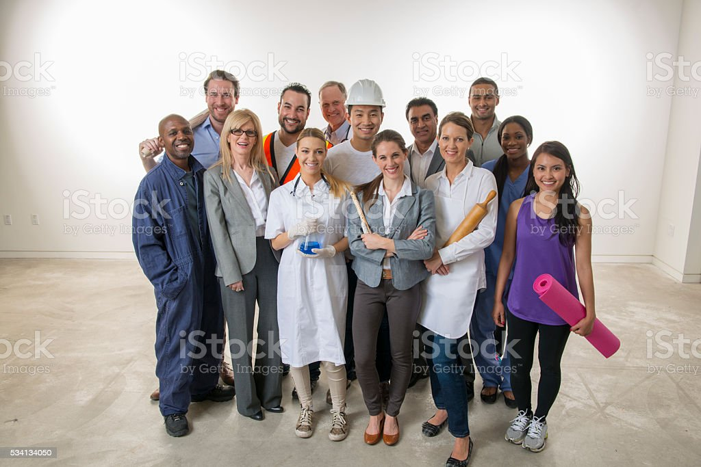 Varied Group of Workers stock photo