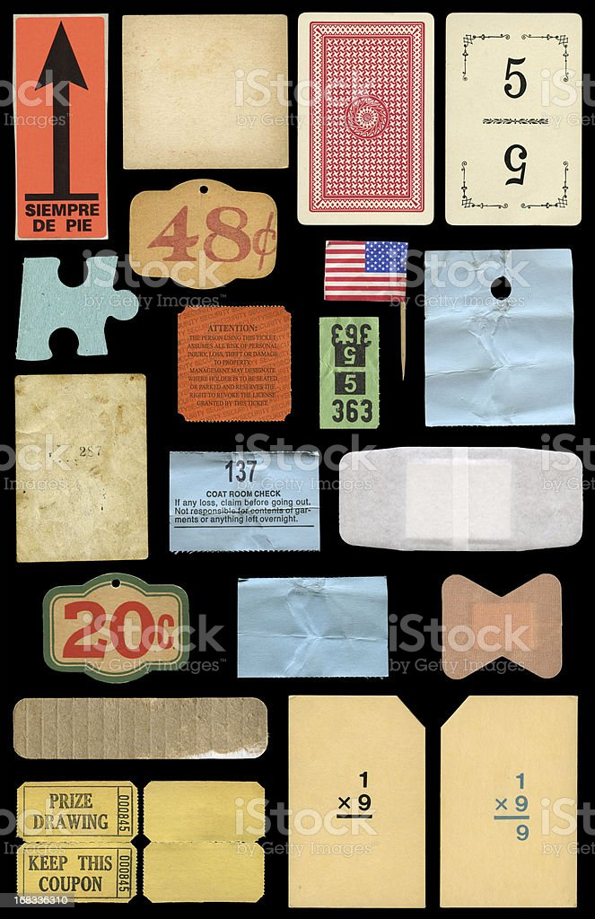 varied paper ephemera stock photo