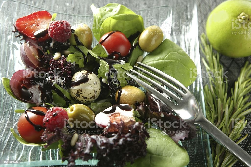 Varied salad with fruits and vegetables royalty-free stock photo