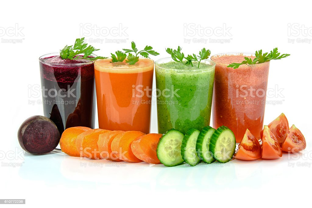 Varied types of vegetable juices stock photo