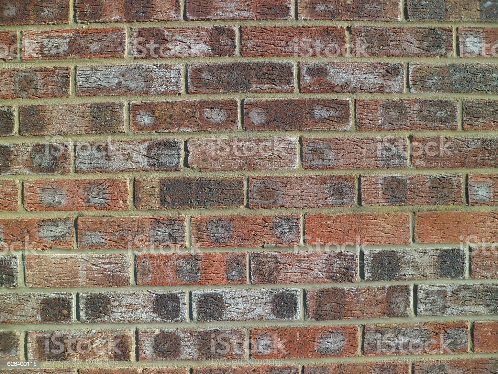 Variegated, brindled, spotted brick wall (nine courses) stock photo