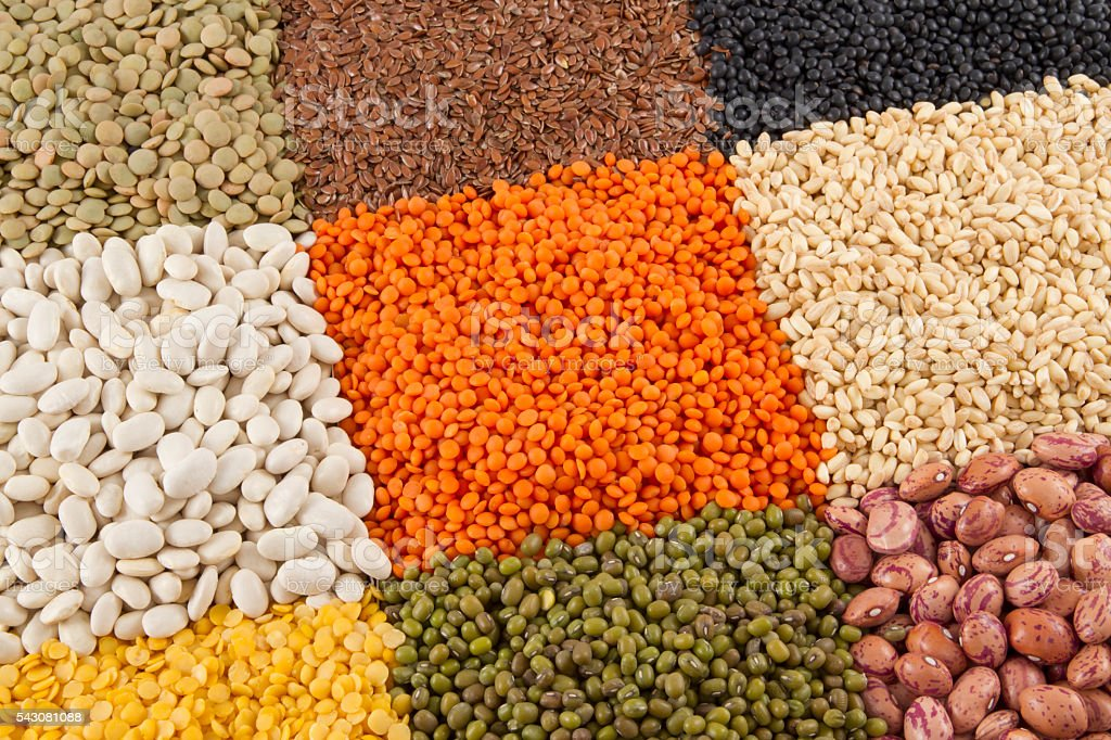 Varieties of Beans and Legumes stock photo