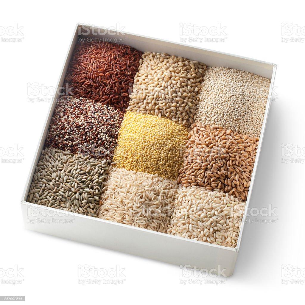 Varieties of grains stock photo