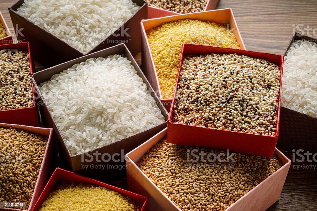Varieties of Grains Seeds and Raw Quino stock photo