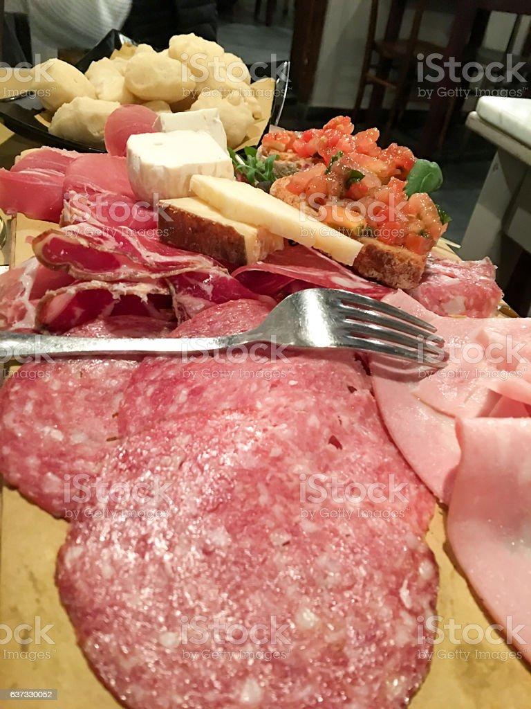 Varieties of Italian salami stock photo
