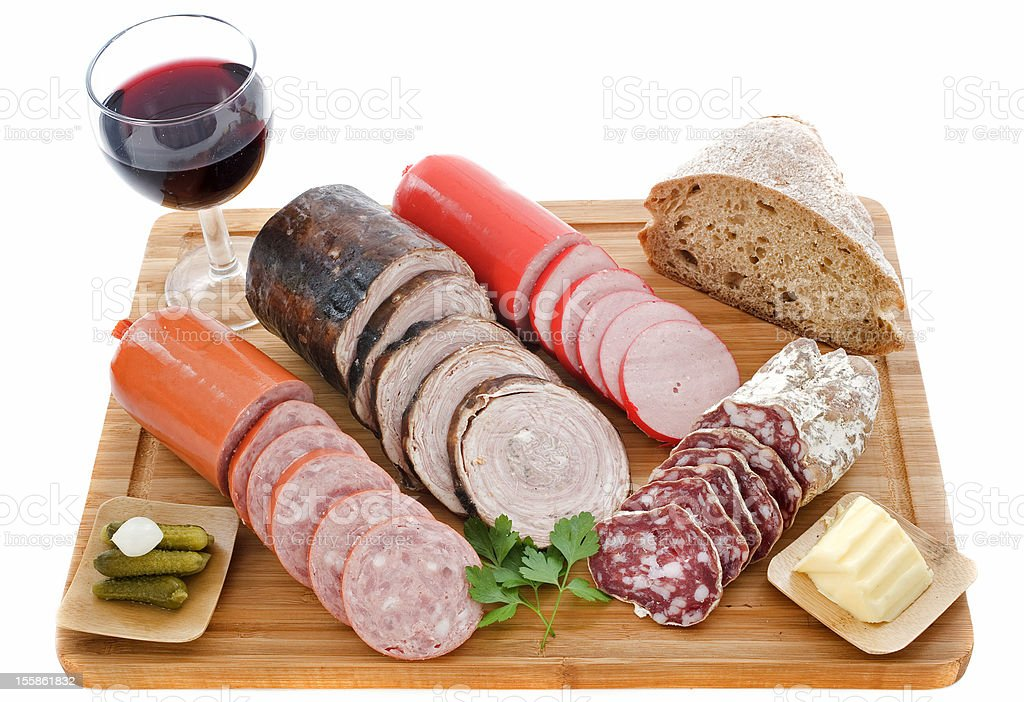 varieties of sausages royalty-free stock photo