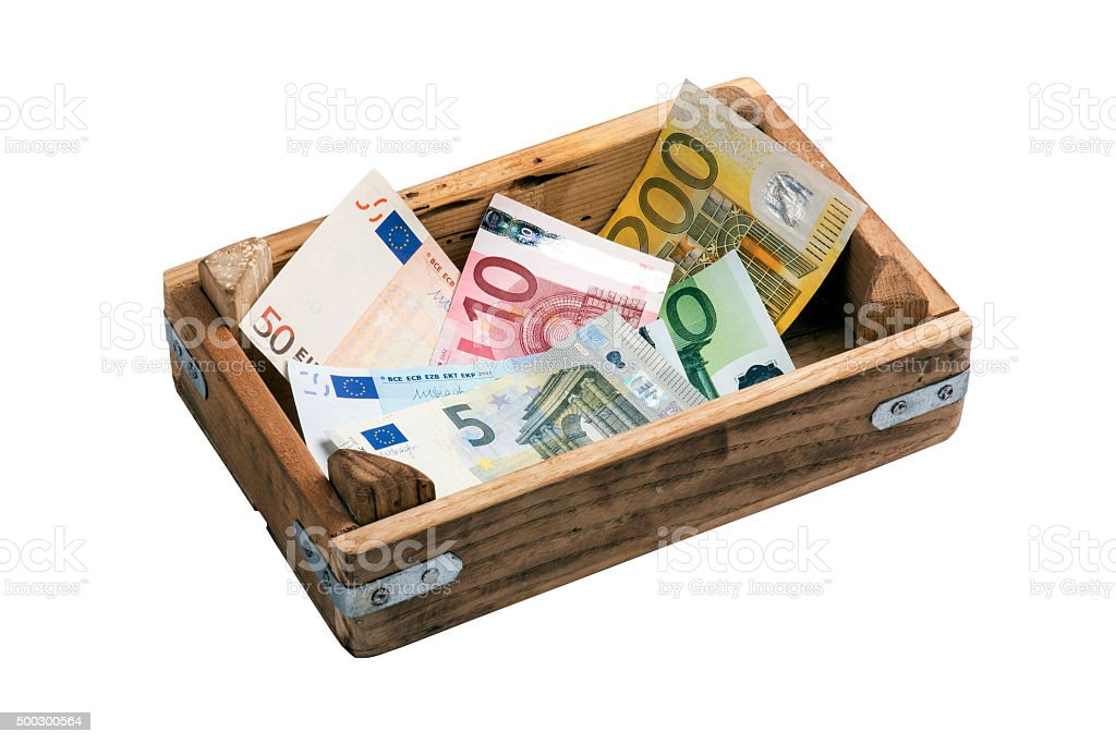 Variety European Union Currency in Wooden Container stock photo