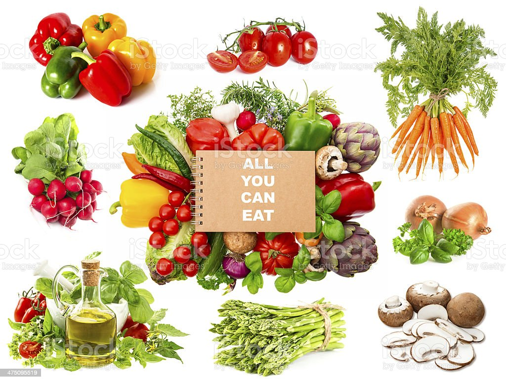 variety fresh herbs and vegetables and recipe book royalty-free stock photo
