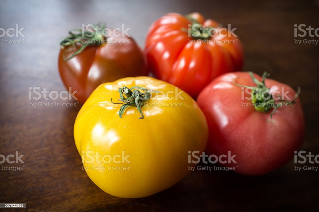 Variety Heirloom Tomatoes stock photo