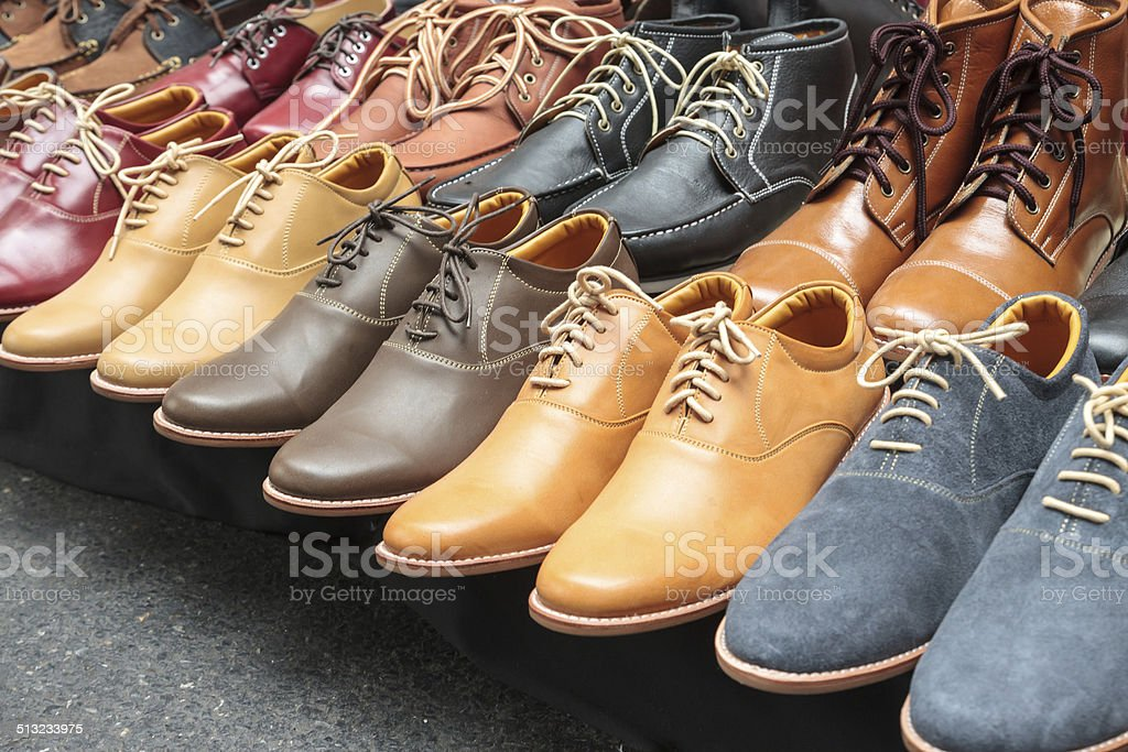 Variety Leather Shoes in the Shop stock photo