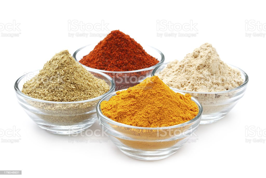 Variety of Authentic Indian Spices on bowl. royalty-free stock photo