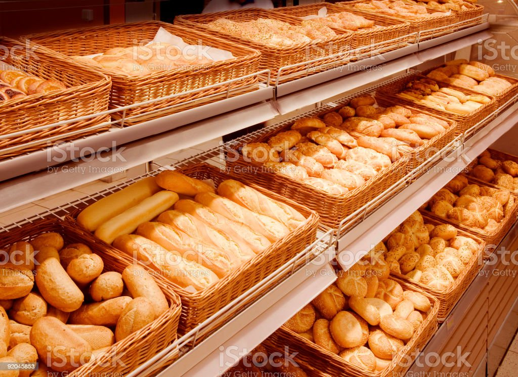 Variety of baked products at a supermarket royalty-free stock photo
