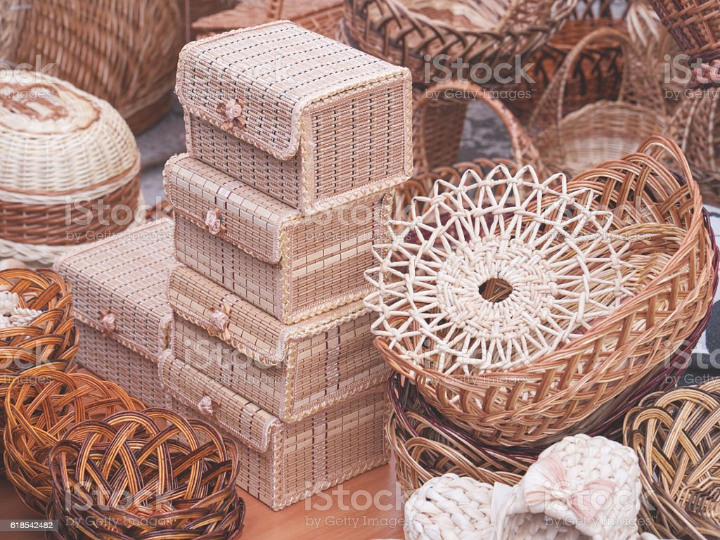 Variety of basketry handmade, decorative handicrafts stock photo