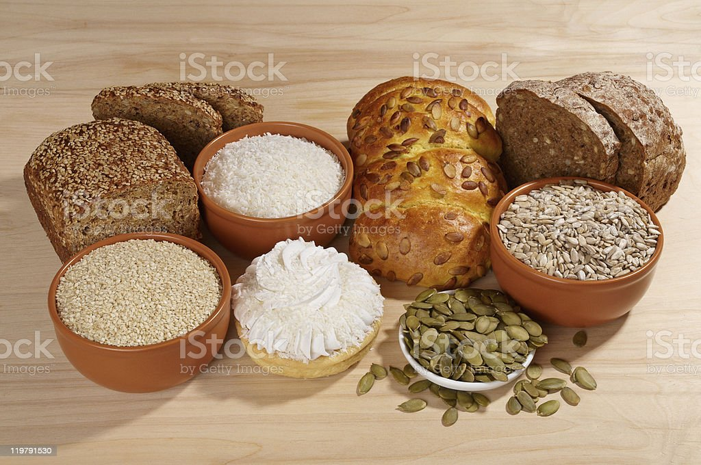 Variety of bread and ingredients royalty-free stock photo