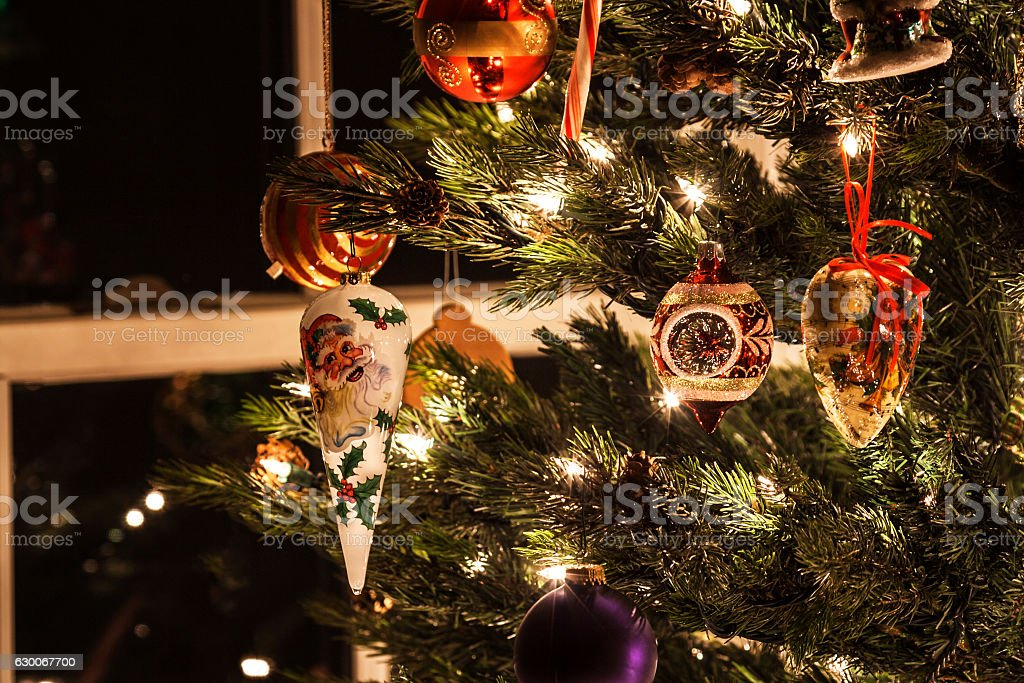 Variety of Bright Christmas Tree Ornaments and Lights stock photo