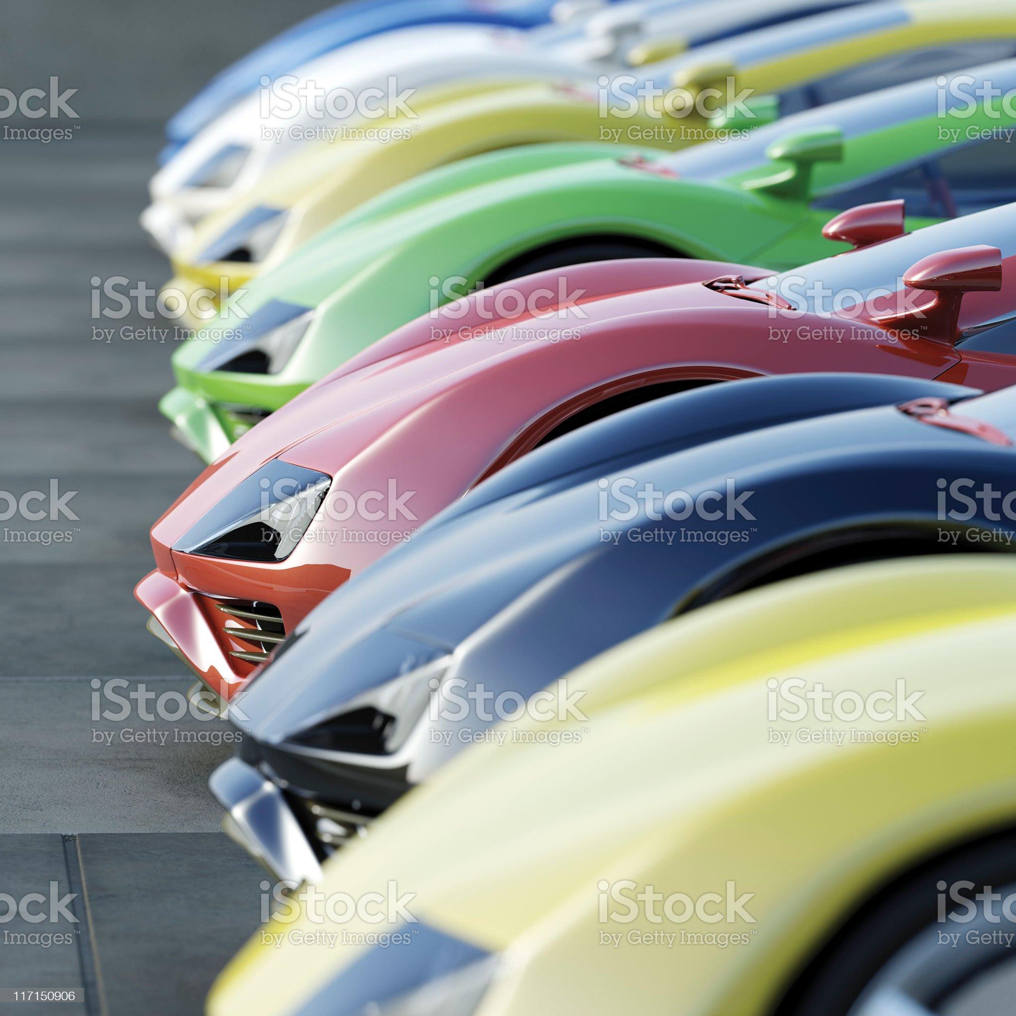A variety of cars at a car dealership royalty-free stock photo