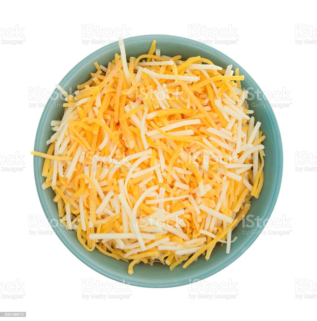 Variety of cheeses in a small bowl stock photo