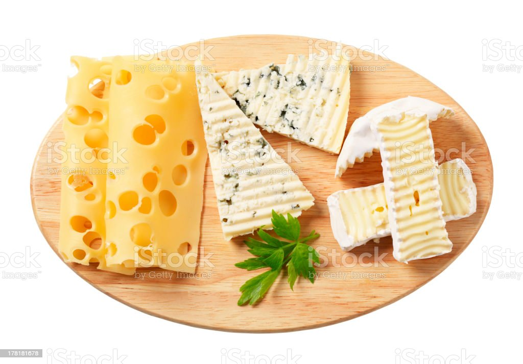 Variety of cheeses stock photo