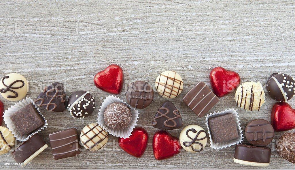 Variety of chocolates stock photo