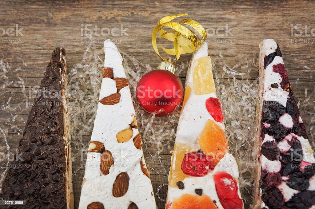 Variety of Christmas nougat  closeup stock photo