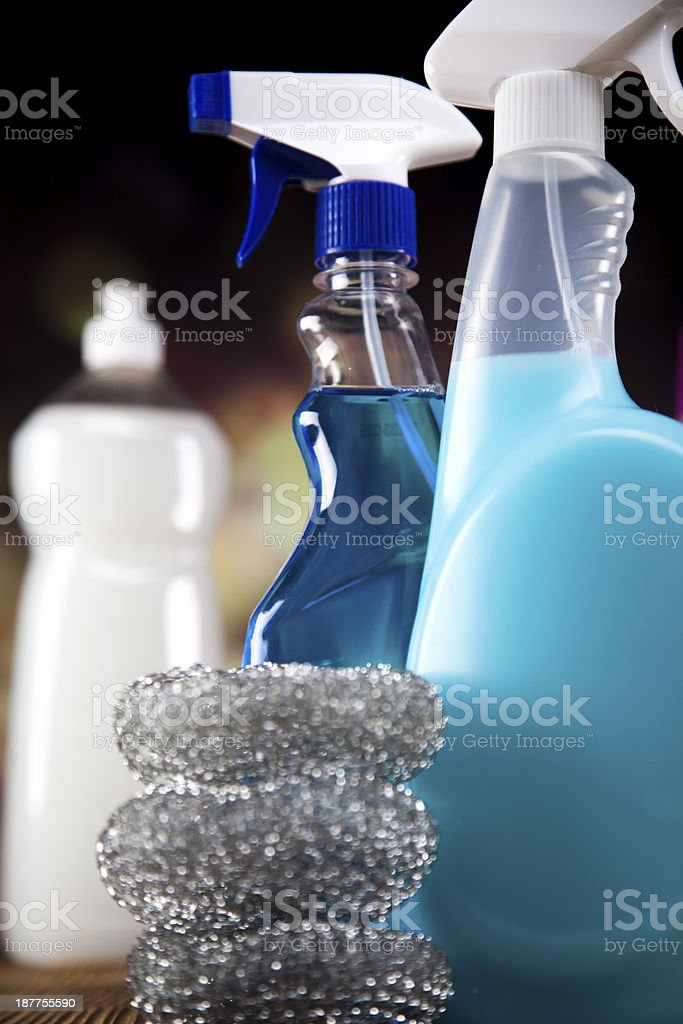 Variety of cleaning products royalty-free stock photo