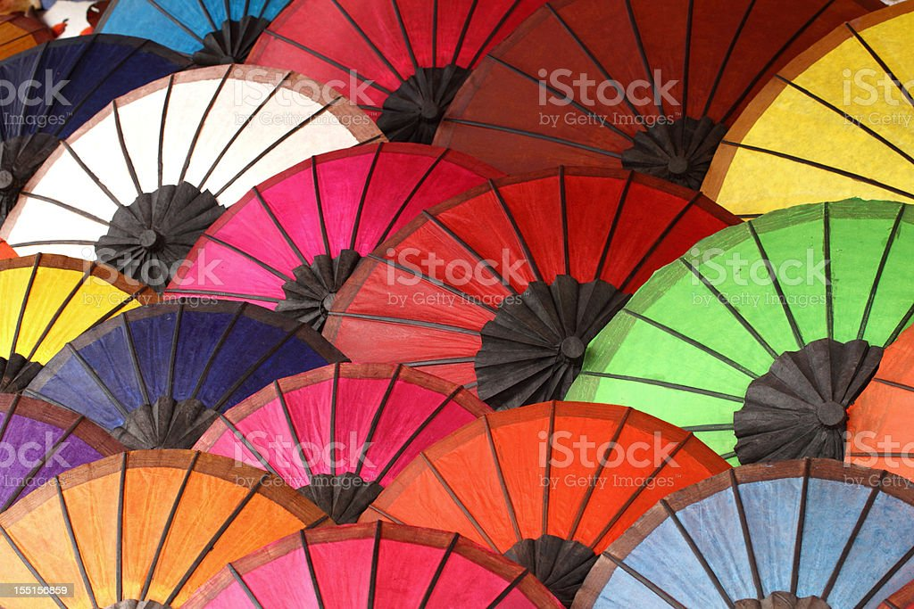 Variety of colorful Asian umbrellas on display royalty-free stock photo