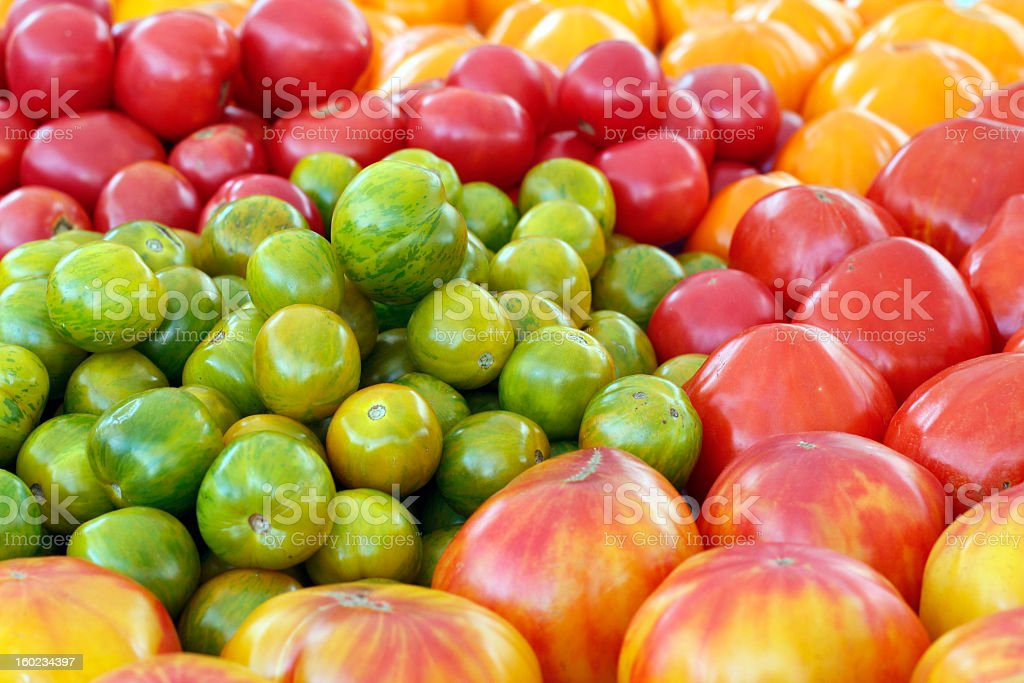 Variety of Colorful Heirloom Tomatoes stock photo