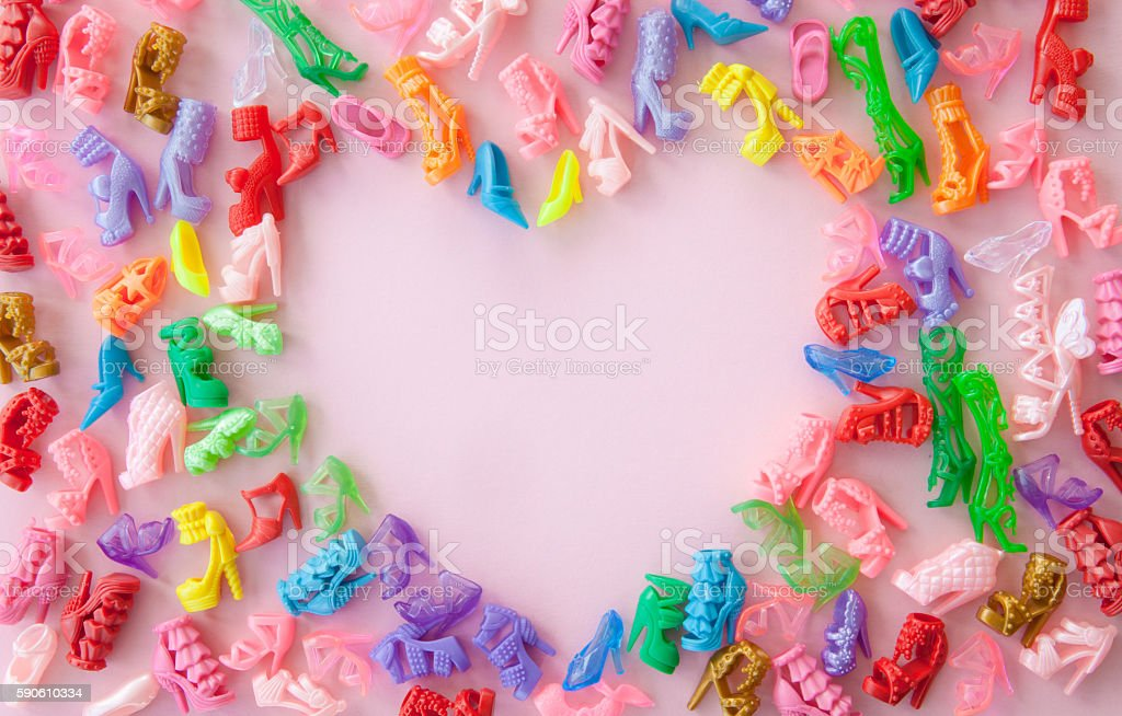 Variety of colorful high heels stock photo