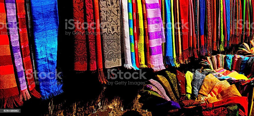 Variety of Colorful Scarves, Morocco stock photo
