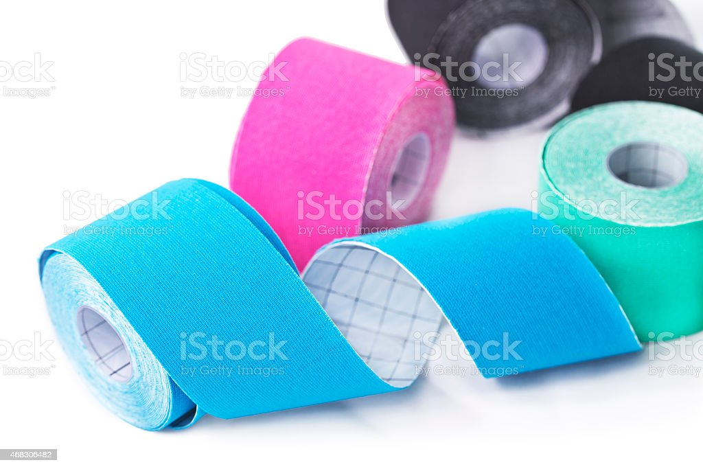 Variety of colorful therapeutic self-adhesive tapes stock photo