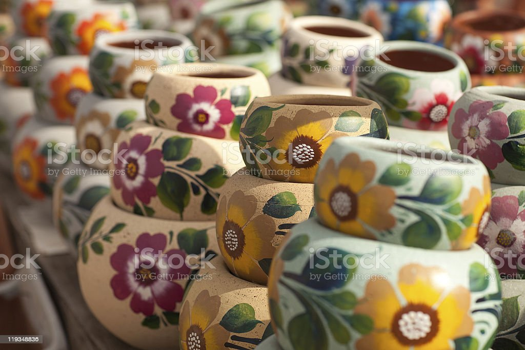 Variety of Colorfully Painted Ceramic Pots. royalty-free stock photo