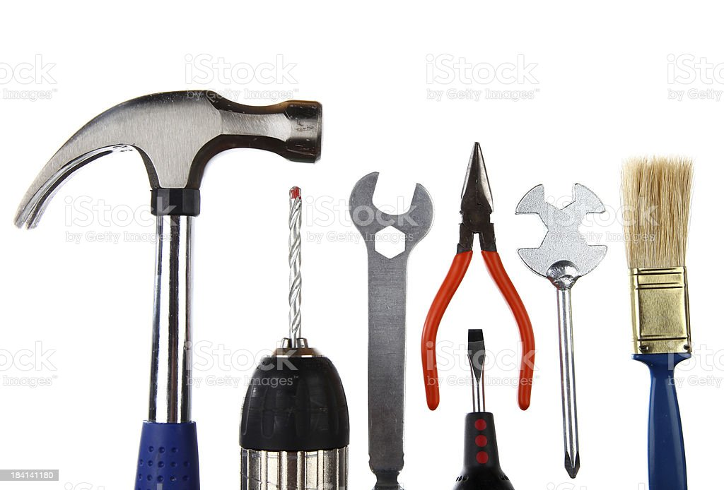 Variety of construction hand tools isolated on white royalty-free stock photo